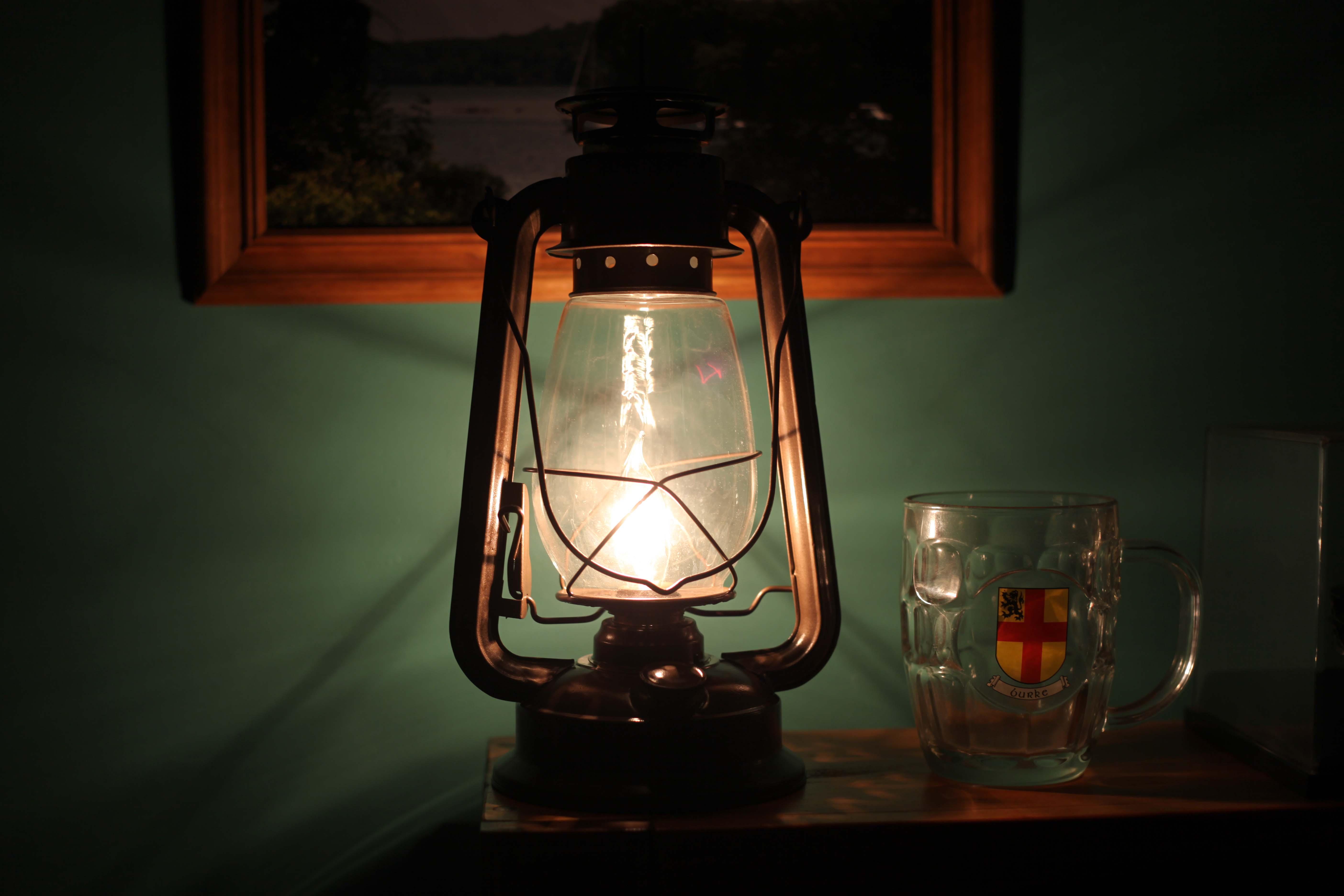 Electric Lantern Table Lamp Bronze Lantern Brown